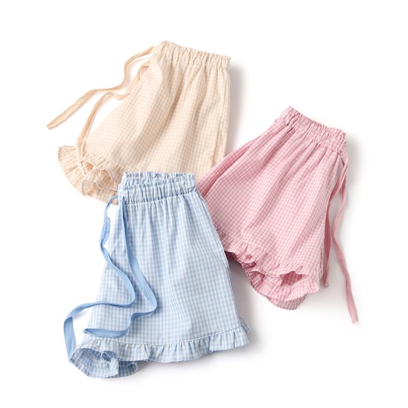 Quần mỏng Nhật Bản cotton sen lá ngọt ngào nhà quần short cotton đồ ngủ bãi biển nữ mùa hè cô gái bên lưới - Quần tây