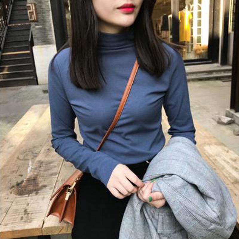 打底衫春装新款长袖t恤女韩版内搭高领心机修身上衣显瘦慵懒风潮