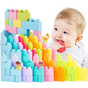 Baby building blocks 0-1 2 can bite early education 3 baby toys soft plastic big particles assembled boy girl puzzle