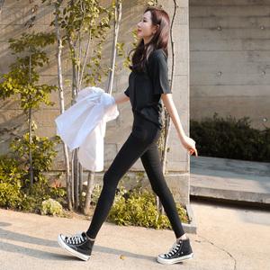 黑色魔术裤加绒打底裤高腰显瘦