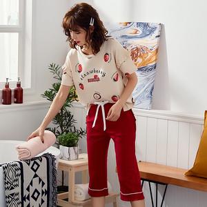 夏季纯棉睡衣短袖七分裤家居服套装