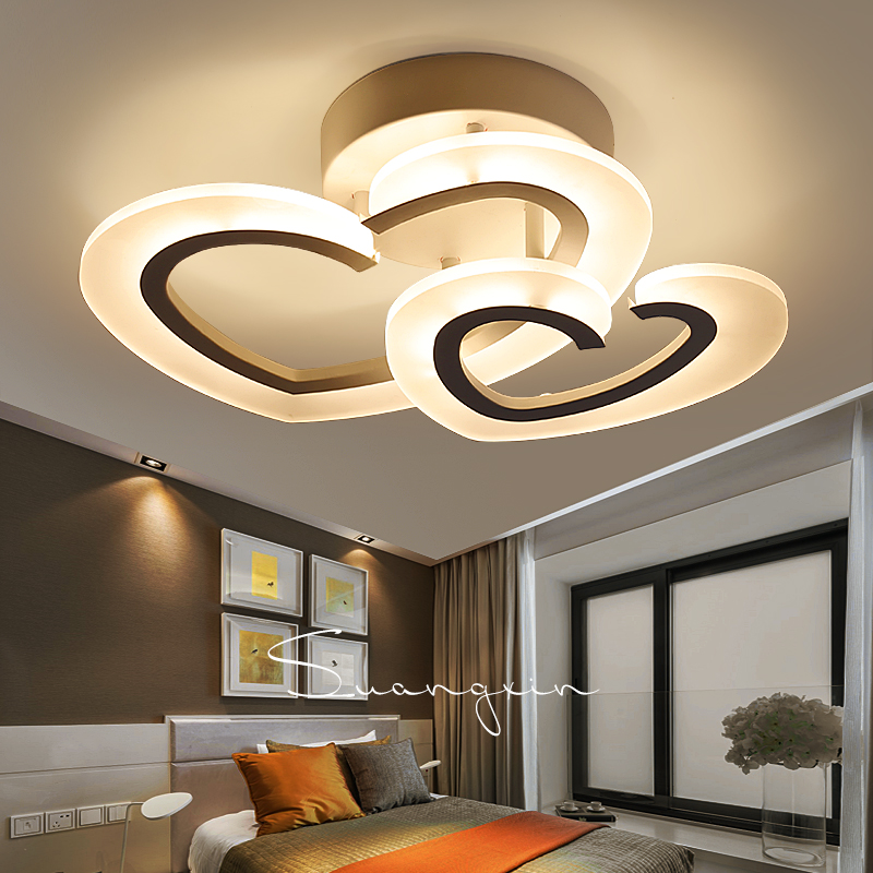 Simple Modern LED Heart Shaped Ceiling Lamp Warm Romantic Bedroom Lamp  Wedding Room Lamp Living Room Creative Personality Lamps
