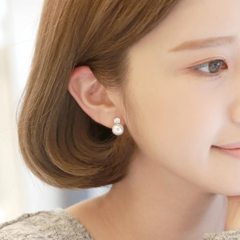 KV advanced sense pearl ear clip no ear holes female fairy quality niche sterling silver ear stud super fairy earrings 2021 new trend