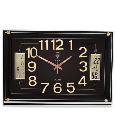 北极星客厅挂钟简约现代万年历夜光钟表方形挂表石英钟20英寸大钟