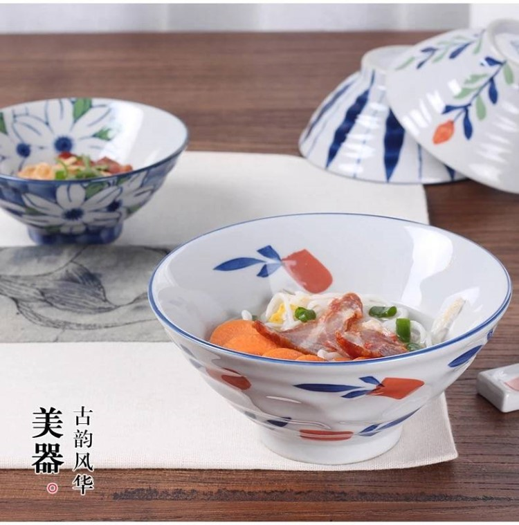 The kitchen of jingdezhen make rainbow such as bowl of The big bowl pull rainbow such use salad bowl Japanese under glaze color porcelain tableware rainbow such as bowl of rice