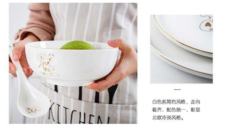 The kitchen ceramic tableware Nordic household chopsticks dishes plate up phnom penh dish soup bowl ceramic bowl plate combination suit