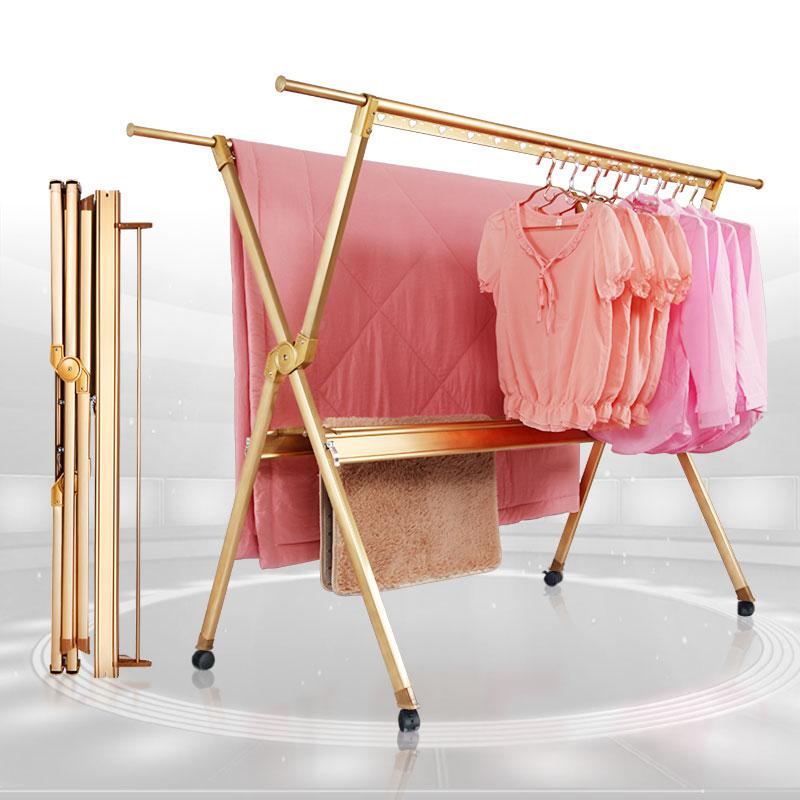 铝合金晾衣架落地折叠室内家用阳台晒被子衣架伸缩晒衣架折叠衣架