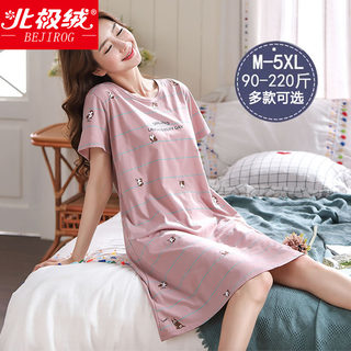 Skirt female summer cotton thin short-sleeved Korean version of the loose plus fertilizer XL fat mm200 kg pajamas female summer