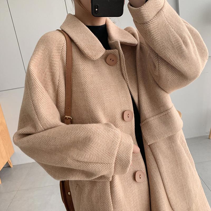 kim哈哈 2019新款秋冬大衣女式呢子韩版宽松中长款毛呢夹棉外套