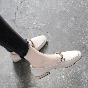 软皮鞋春款百搭方头粗跟单鞋浅口平底皮鞋