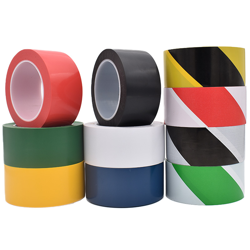 地板胶带PVC黑黄斑马警戒地标贴地面5S标识彩色隔离划线警示胶带