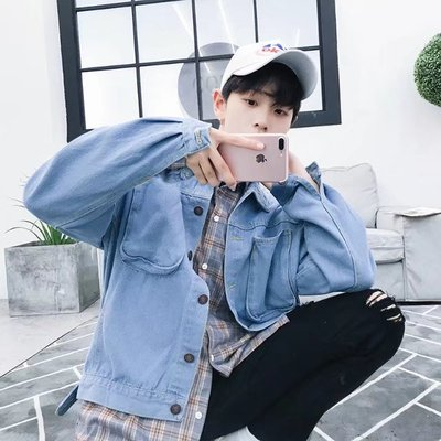 Harajuku wind jacket male bf Korea loose ulzzang men's jeans windbreaker male short paragraph Hong Kong jacket men