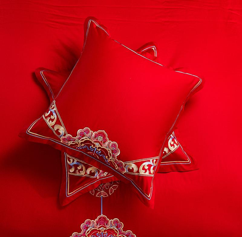 Mới cưới gối bông đỏ đệm cưới 60 lõi cotton thêu cưới đỏ gối đôi - Trở lại đệm / Bolsters