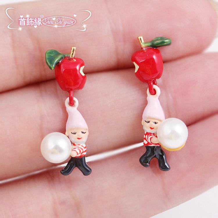 红苹果小矮人珍珠925银针耳钉童话耳环女N2圣诞礼物
