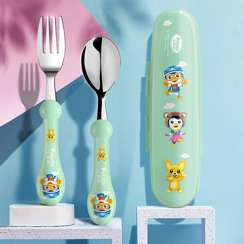 儿童辅食不锈钢304叉勺套装宝宝学吃饭勺子叉子餐具婴儿辅食碗勺