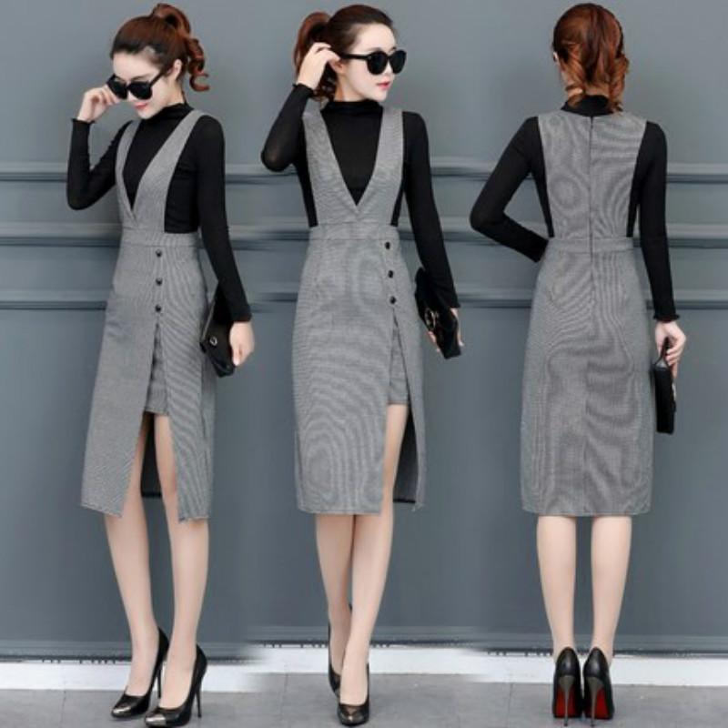 秋装2017新款韩版套装裙修身中长款背带裙两件套v领开叉连衣裙潮