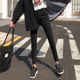 Джинсы,  Талия джинсы женщина 2019 весна новый корейский девять очков значительно тоньше плотно черный восемь лапти брюки сын, цена 762 руб