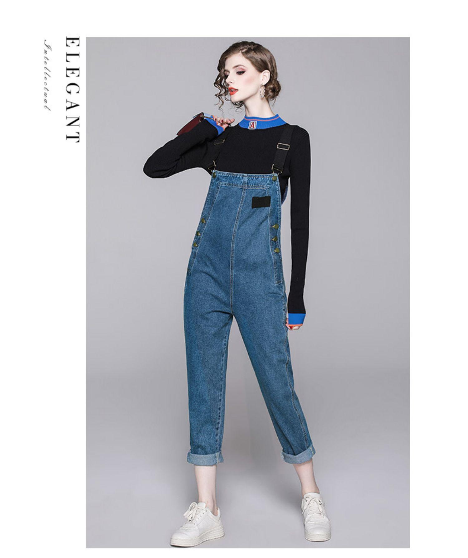 2020新款女春装潮帅气减龄长袖毛衣背带牛仔裤两件套休闲时尚套装商品详情图
