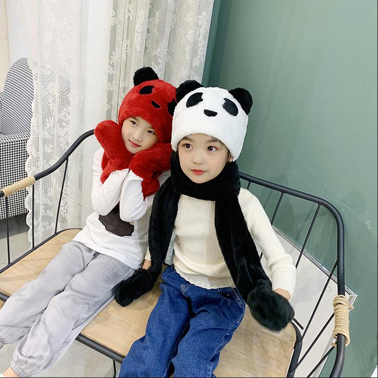 儿童耳朵会动的帽子保暖加厚冬男女童帽子围巾手套三件套装一体帽