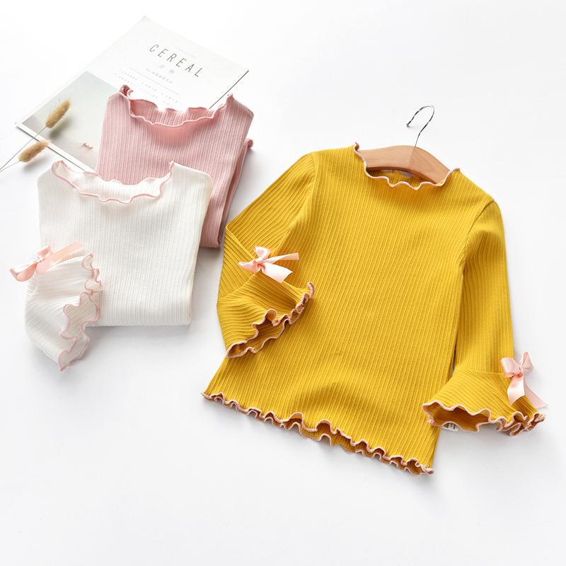 На девочку Нижняя рубашка 2018 осень новая коллекция корейская версия Твердый цвет на ухе хлопок верх Дети в одежде длинный рукав детские Футболки