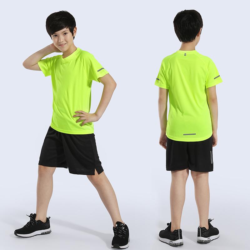 夏季儿童速干衣套装男童速干短袖t恤运动中大童女童跑步健身服装