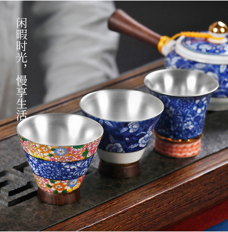 Silver cup Silver 999 masters cup single ceramic coppering. As Silver sample tea cup pure manual restoring ancient ways individuals dedicated single CPU