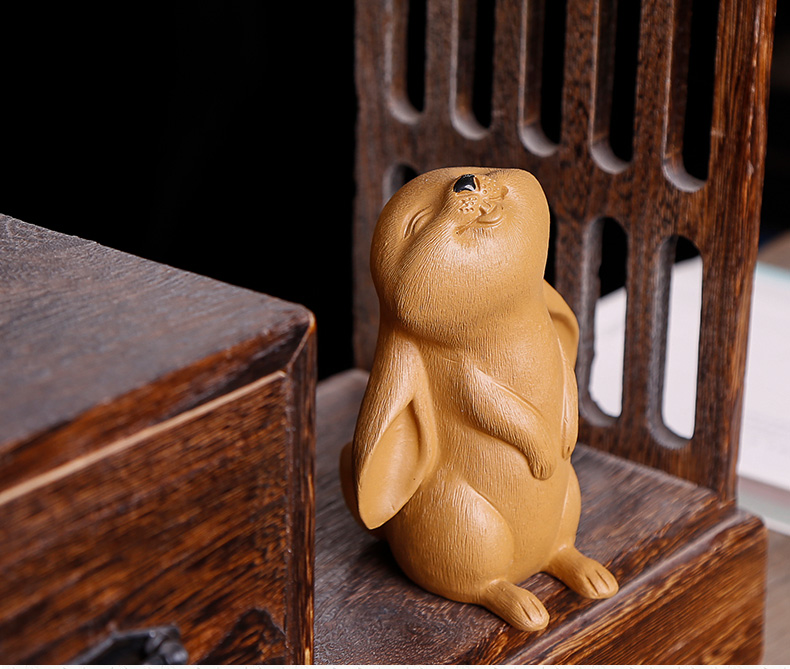 Looked up the rabbit furnishing articles pet boutique purple sand tea to keep individuality creative play lovely tea tea set decoration accessories accessories