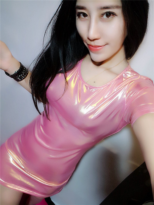 新打底烫金亮面时尚修身中长款半袖t恤女连衣裙弹力性感衫