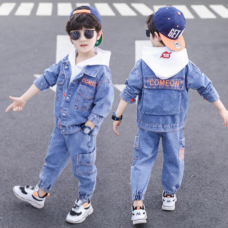 春装男孩套装件套2020新款韩版帅气童装两牛仔衣服春秋洋气男童潮