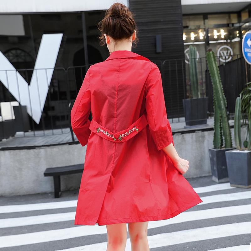 防晒衣女2019新款中长款韩版夏季时尚休闲仙女小西装修身开衫外套