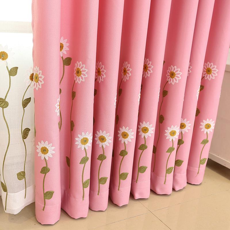 Đơn giản và tươi mát nông thôn gió mặt trời bông và vải lanh thêu màu hồng bóng phòng trẻ em phòng ngủ rèm vải gạc - Phụ kiện rèm cửa
