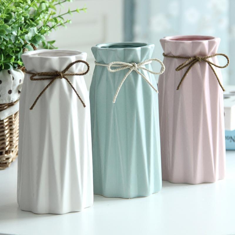 小清新陶瓷花瓶玫瑰花插简约假花干花花器客厅餐桌家居装饰品摆件