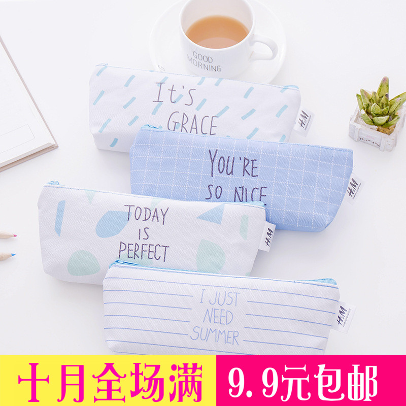 Korean cute small fresh canvas pencil bag Primary and secondary school students multi-function large-capacity pencil bag Stationery wholesale