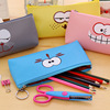 New Japan and South Korea creative waterproof PU leather funny face pen bag purse Student children stationery bag wholesale