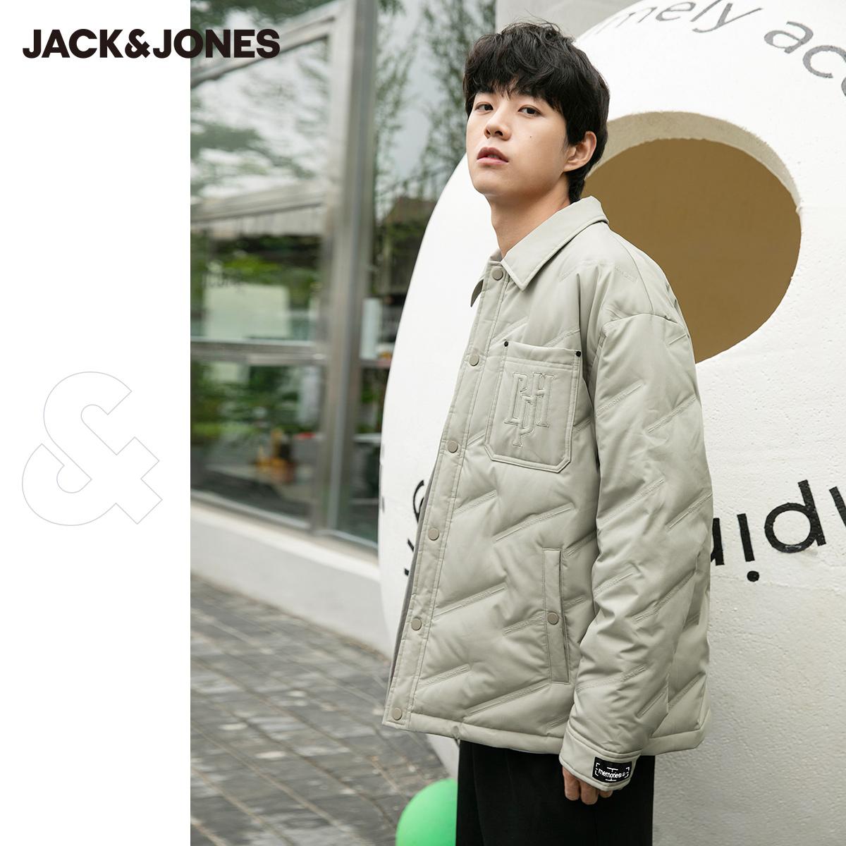 【预售】杰克琼斯秋冬新宽松轻薄鸭绒教练潮夹克茄衬衫羽绒服外套