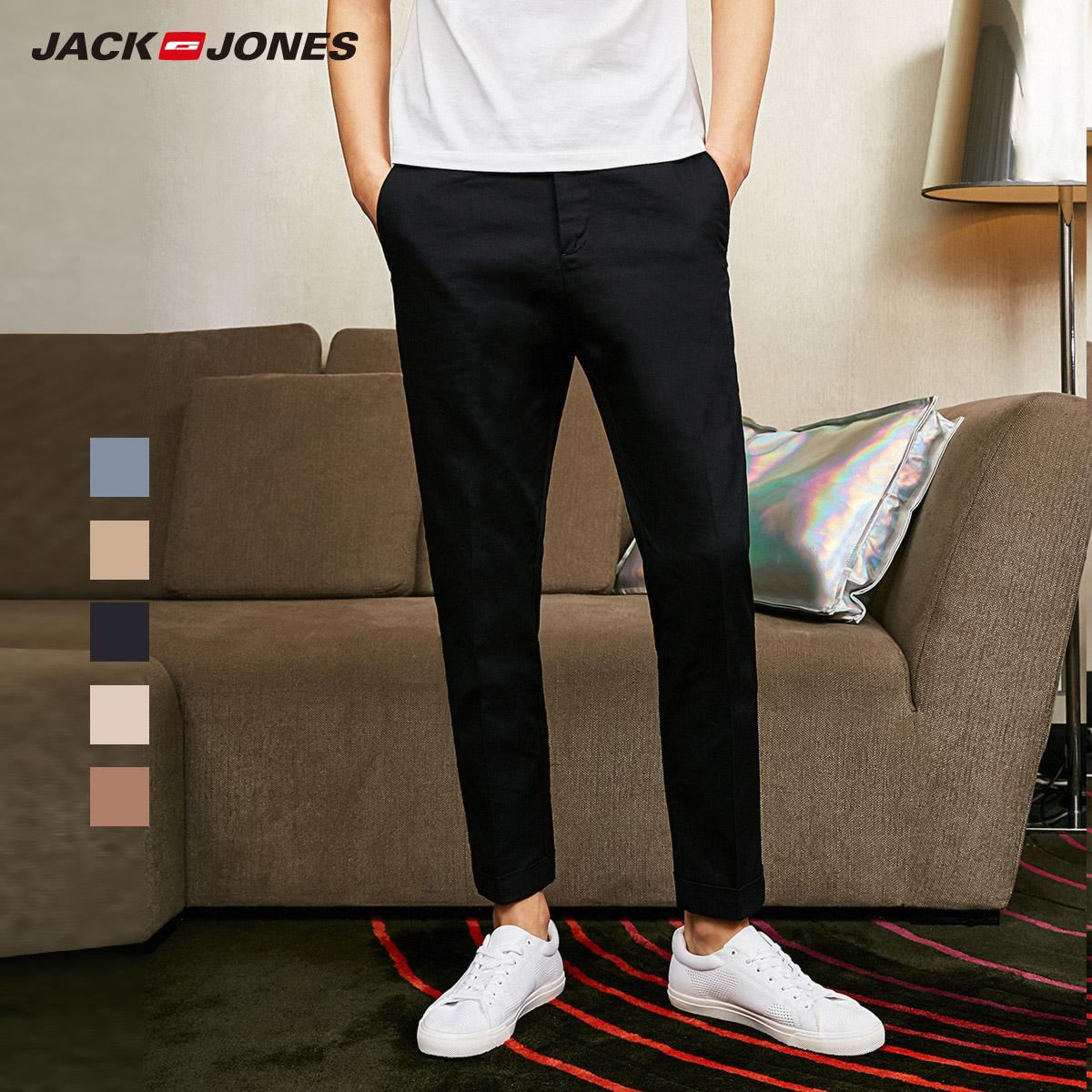 JackJones джек агат этот мужской новая весна и лето модель хлопок твердый бизнес американский случайный цветные брюки девять очков