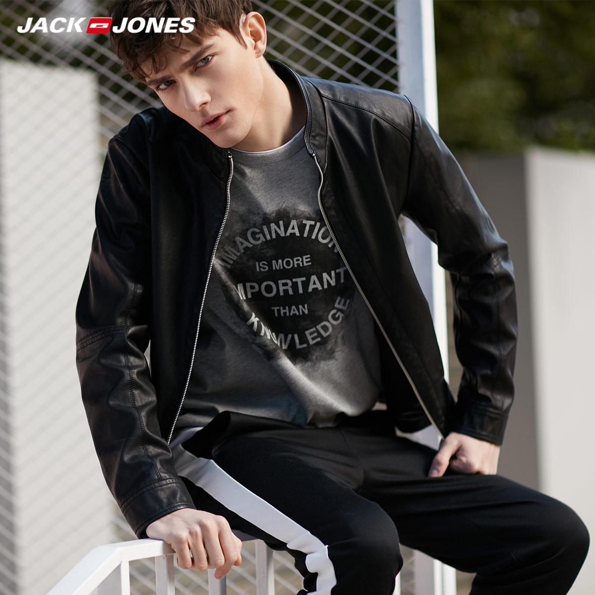 JackJones джек агат этот мужской новая весна и лето модель красивый волна краткое модель американский черный кожзаменитель кожа куртка пальто