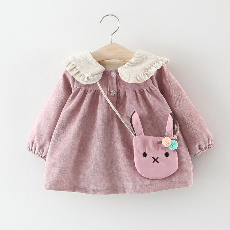 女小童宝宝公主裙秋冬装0一1-3岁儿童小女孩娃娃领灯芯绒裙子加绒