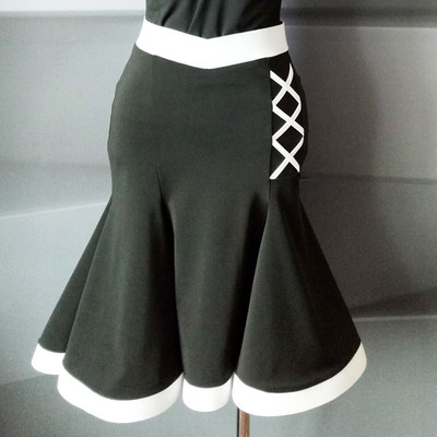 Latin Dance Skirt Training Clothes Colour Five-Stage Fixed Ice Silk Fishbone Half-length Skirt