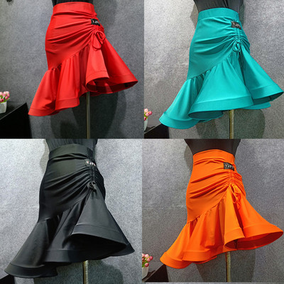 Adult Latin Dance Skirt Drawstring Fishbone Half-length Skirt Latin Bottom Dress New Dance Skirt