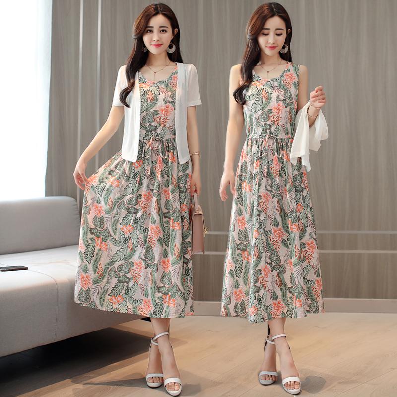 棉麻连衣裙夏2019很仙的中长款收腰带披肩碎花背心裙子套装两件套