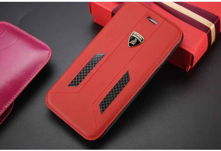 Automobili Lamborghini Huracan D6 Genuine Leather Folio Case Cover for Apple iPhone 6S/6