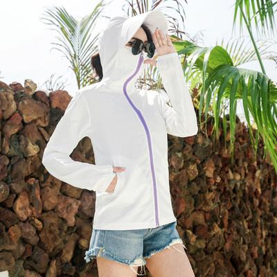 大帽檐骑车防晒衣女短款防紫外线2021新款韩版户外透气沙滩防晒服