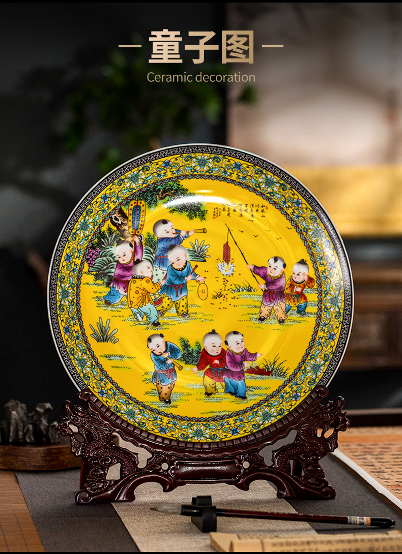 Jingdezhen ceramic creative Chinese style decoration plate wine desktop home rich ancient frame furnishing articles sitting room TV cabinet decoration