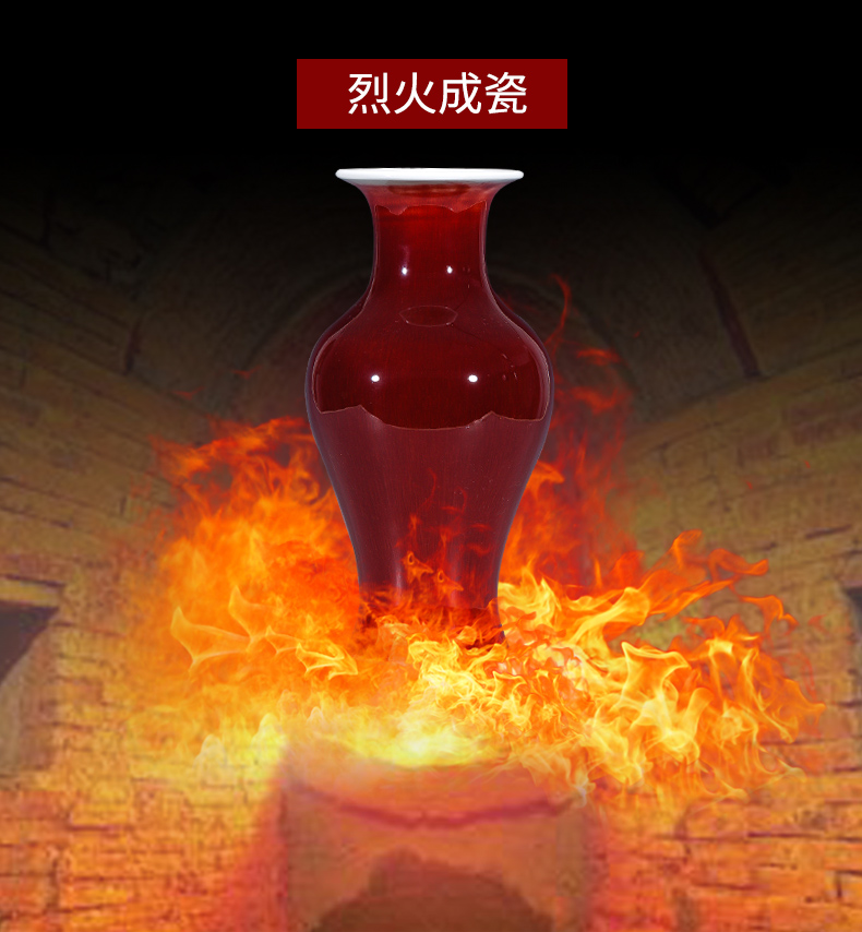 Jingdezhen ruby red bottle gourd ceramics vase Chinese style classical wine sitting room adornment rich ancient frame furnishing articles