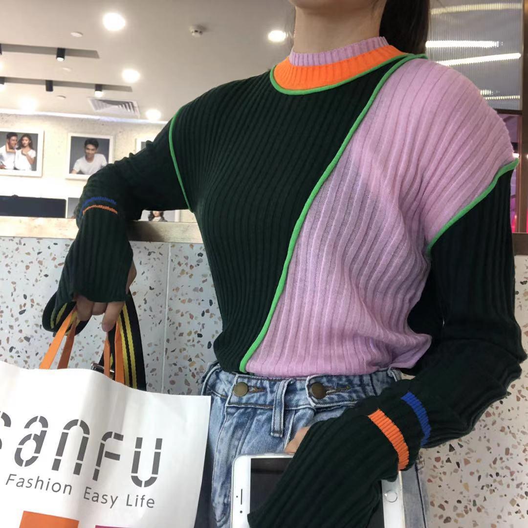 【13C】2019新款打底上衣秋冬长袖开叉韩版不规则撞色毛针织衫女