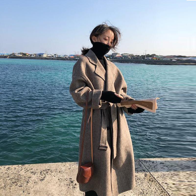 2018秋冬季新款韩版宽松人字纹毛呢外套中长款过膝加棉呢子大衣女