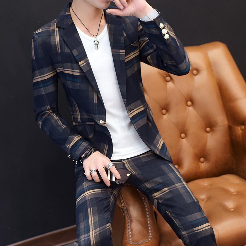 春秋季西服套装男修身韩版小西装休闲西装格子三件套潮流帅气外套