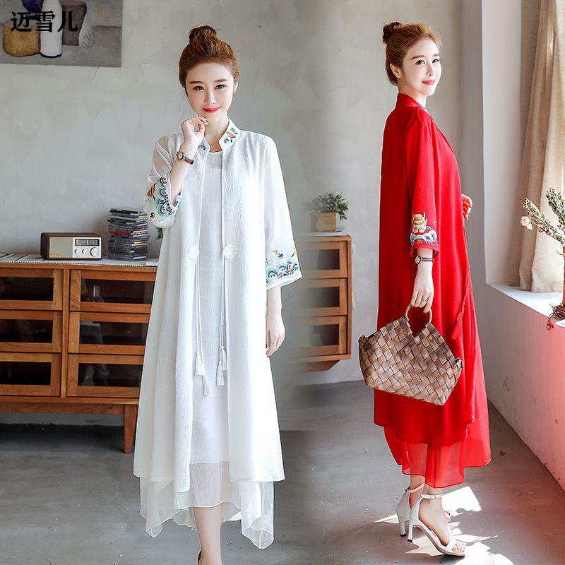 棉麻两古风刺绣连衣裙女件套显瘦2020夏天流行民族风时尚裙子套装