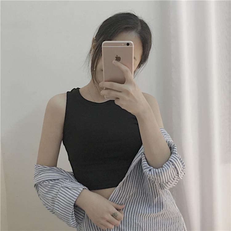 Hồng Kông-phong cách retro sling của phụ nữ mùa hè đoạn ngắn rốn không tay t-shirt bên ngoài dưới cùng của Harajuku nhỏ tươi vest top